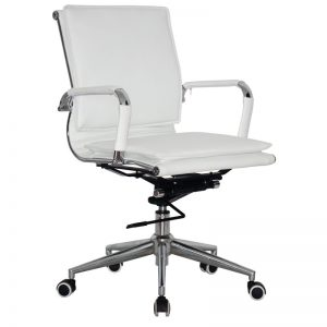 Classic Eames Mid Back - Flat Cushion - White