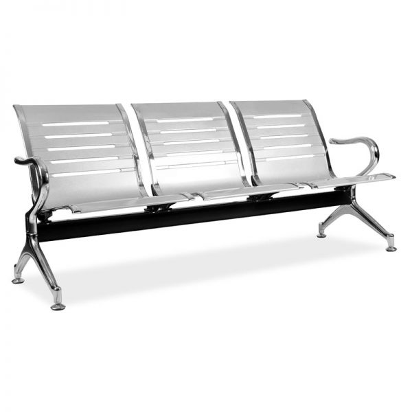 Silver L-Shaped Bench