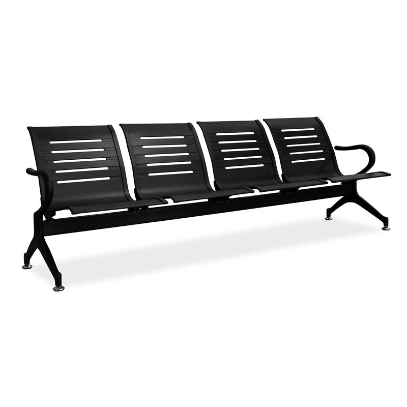 Silverline 3 Seater L-Shaped Bench – Black 1