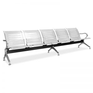 Silverline 5 Seater L-Shaped Bench – Black
