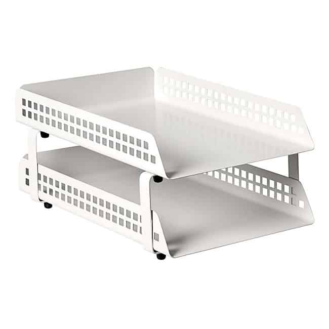 Square Punch 2 Tier Letter Tray – White