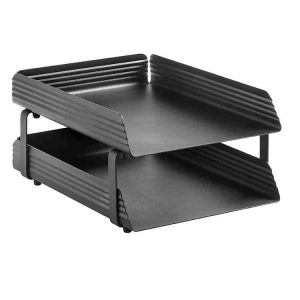 Fluted Steel Letter Tray 2 Tier - Black