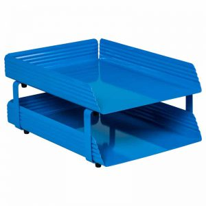 Fluted Steel Letter Tray 2 Tier - Blue