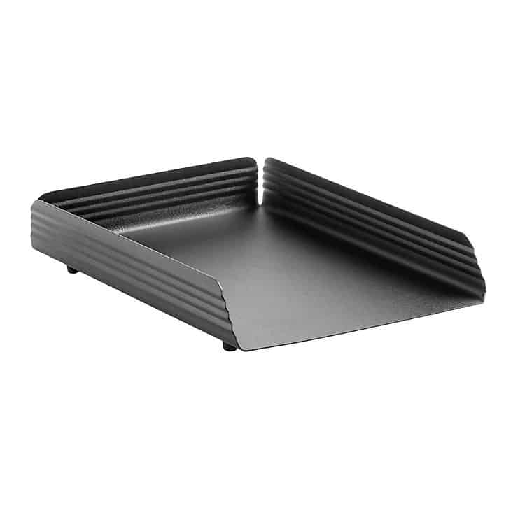 Fluted Steel Letter Tray Single – Black