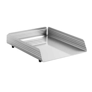 Fluted Steel Letter Tray Single - Silver