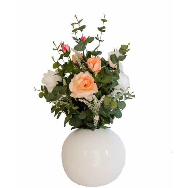 Garden Rose Peach in Ball Vase 1