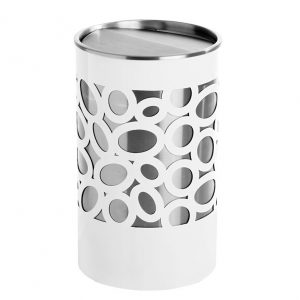 Nucleus Jumo bin, white body with pattern, stainless steel sleeve, stainless steel rim lid with full swivel