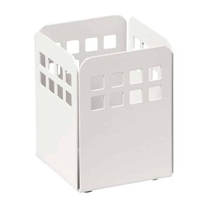 Square Punch Pencil Cup - White