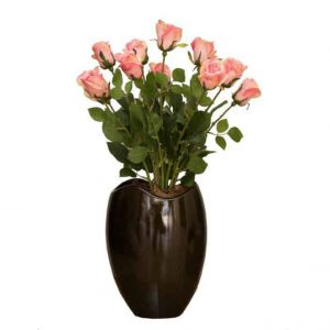 Pink Single Roses in Wide Mouth Vase