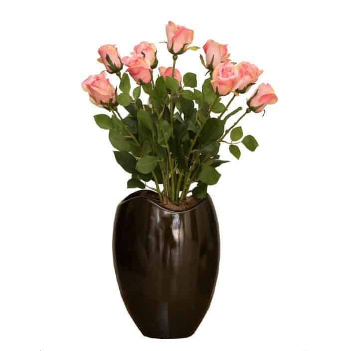 Pink Single Roses in Wide Mouth Vase 1
