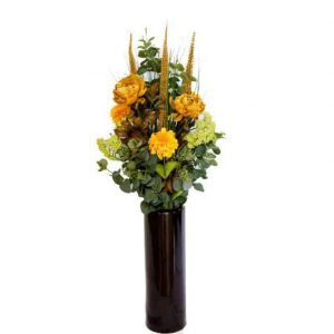 Pom Pom & Peony Assortment in Pipe Cylinder Vase