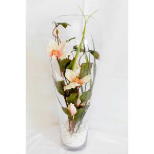 Yulan Peach & Red in a Glass Vase